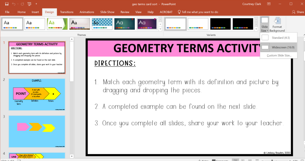Set slide side on PowerPoint to widescreen