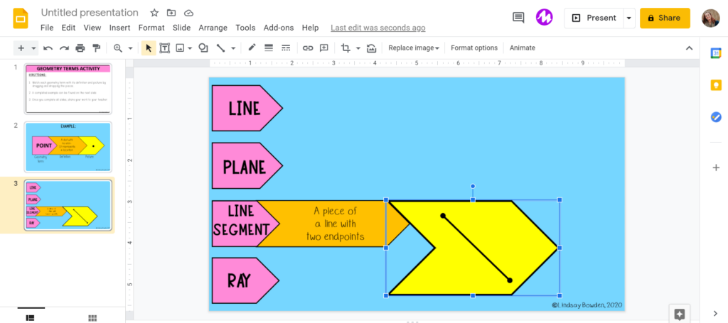 Resize drag and drop images on interactive Google Slides