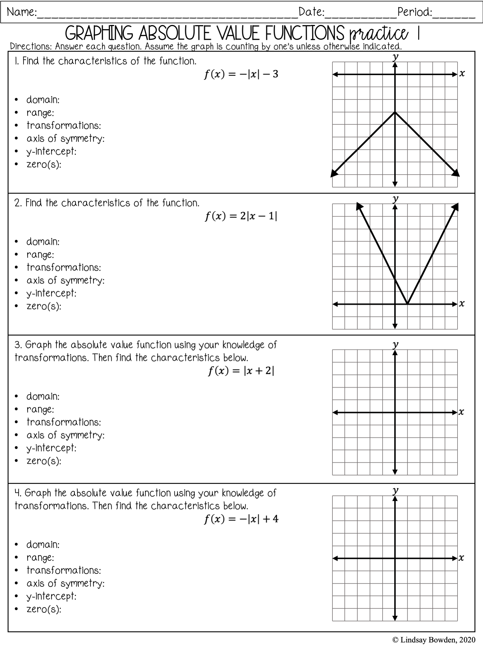 Absolute Value Notes and Worksheets - Lindsay Bowden With Regard To Graphing Absolute Value Functions Worksheet