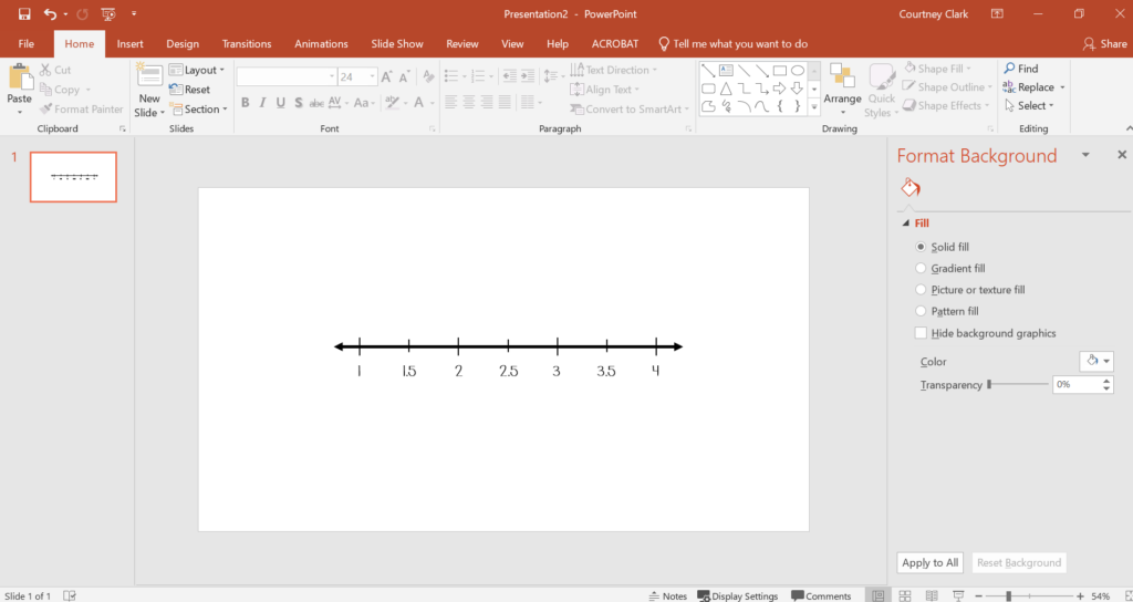 Insert numbers for number line with text boxes