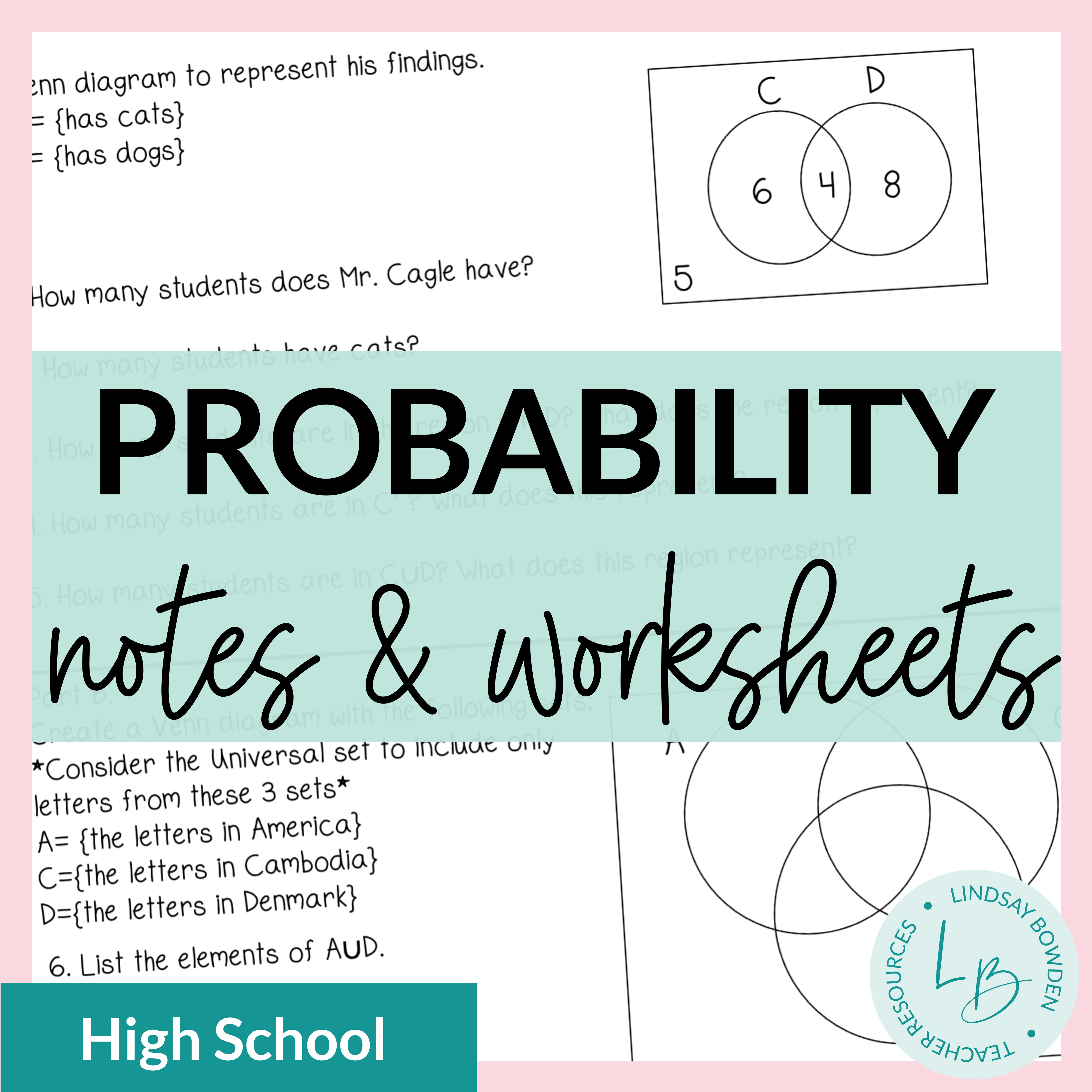 Probability Notes and Worksheets - Lindsay Bowden Inside Probability Worksheet High School