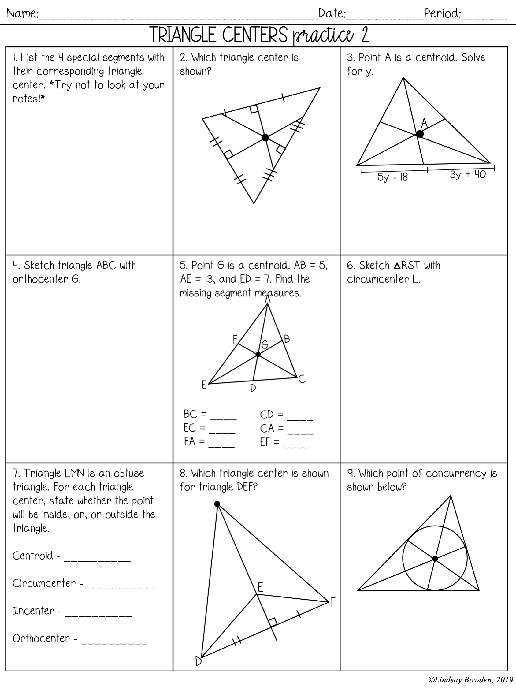 Triangle Centers Notes and Worksheets - Lindsay Bowden Within Points Of Concurrency Worksheet Answers