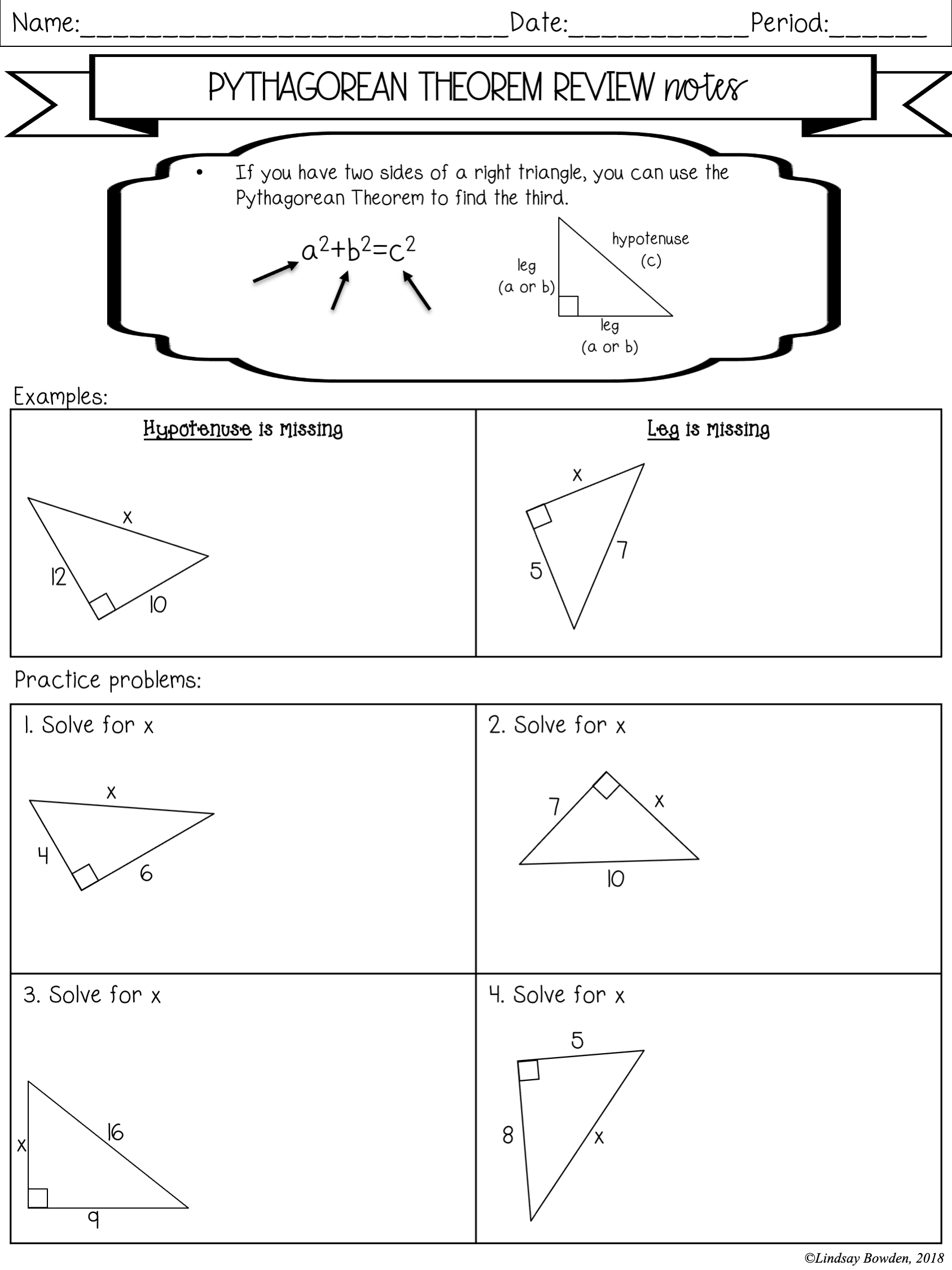Right Triangle Trigonometry Notes and Worksheets - Lindsay Bowden For Right Triangle Trig Worksheet