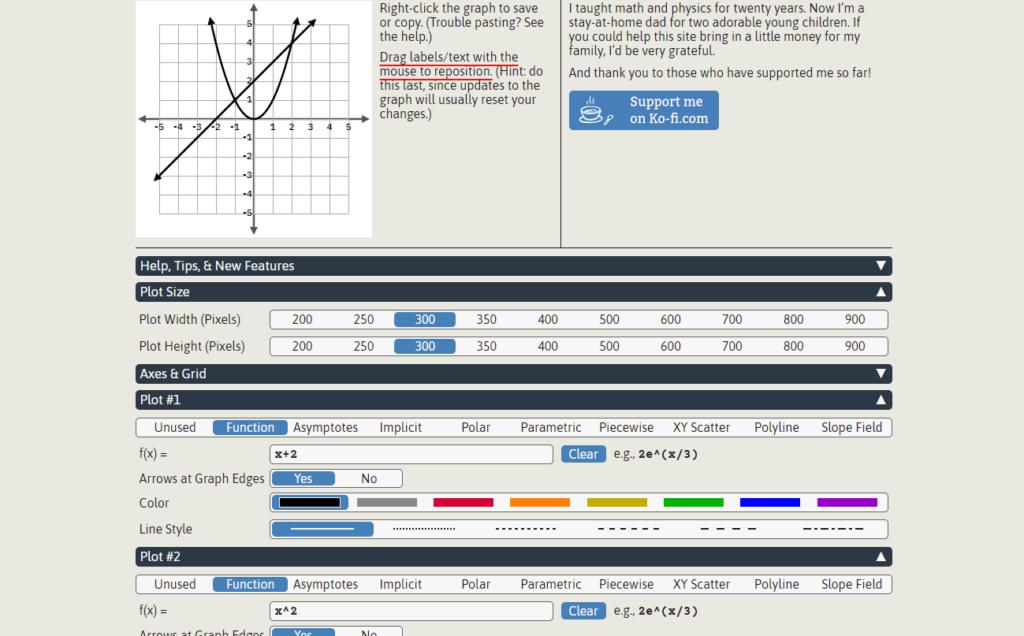 Make parabola graphs on GraphFree