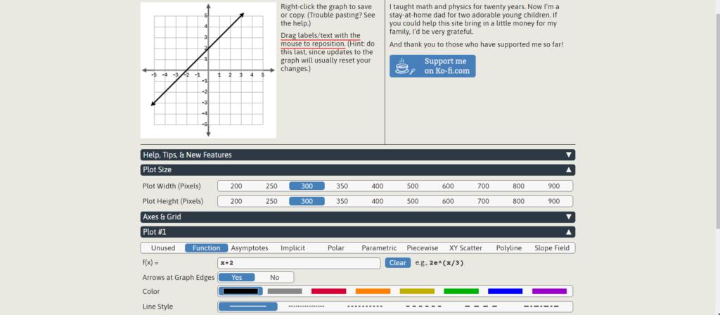 Make basic linear function graphs on GraphFree