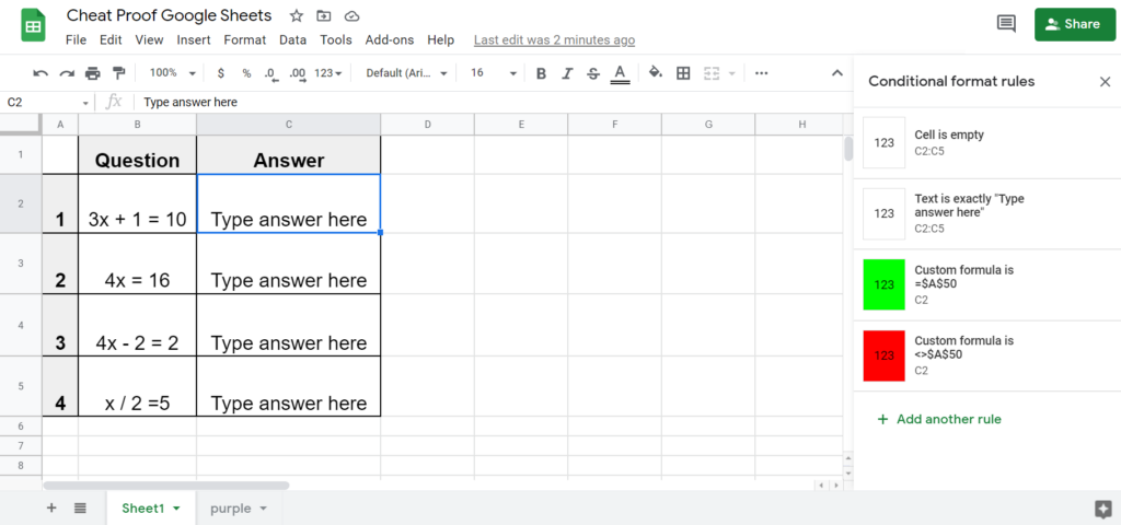 Create custom conditional formula formatting to set up the immediate feedback for the activity
