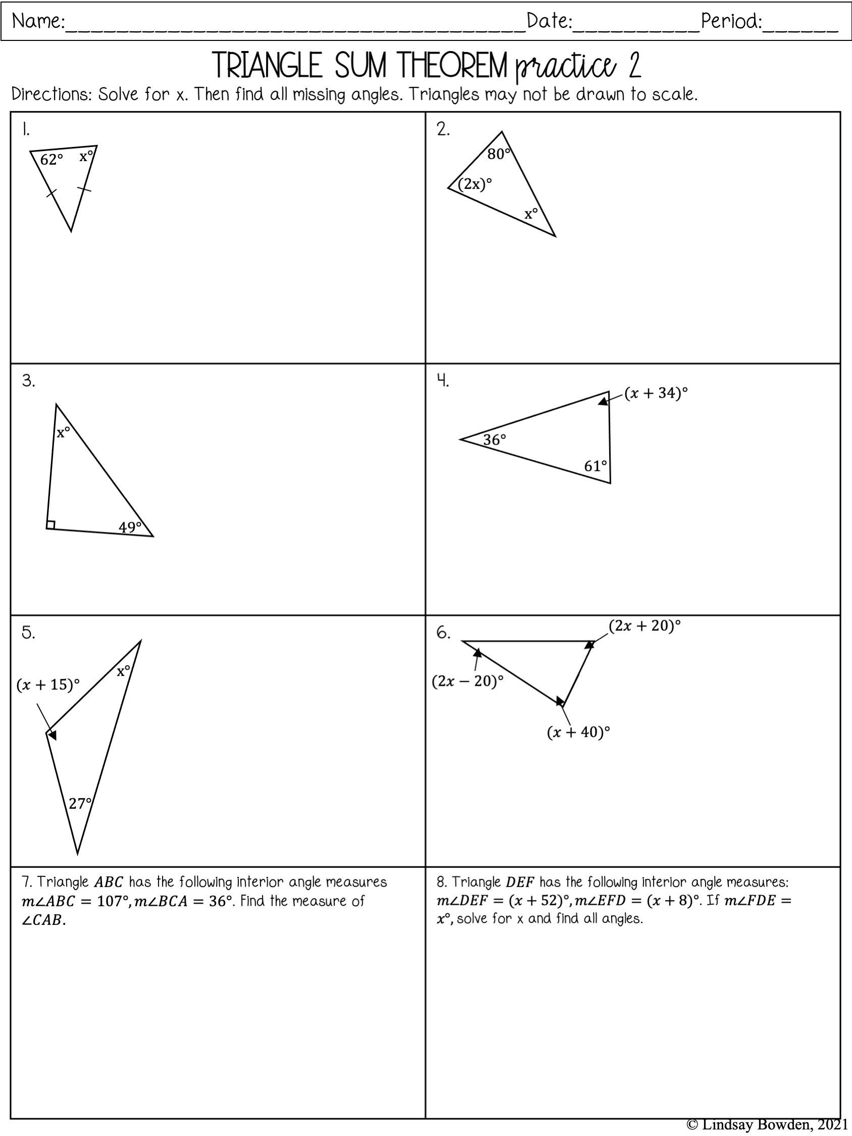 Triangle Sum Theorem Notes and Worksheets - Lindsay Bowden Inside Triangle Angle Sum Worksheet
